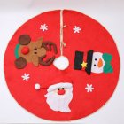 Christmas Tree Skirt with Santa Snowman Elk Red Tree Apron Hotel Shopping Mall Decor 100cm half-dimensional tree skirt