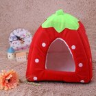 Comfortable Plush Sleeping Nest Soft Cage for Pet Cats Dogs Red strawberry_S