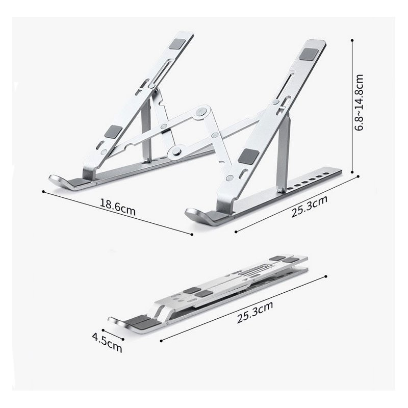Computer Brackets Aluminum Alloy Foldable Height Adjustable Laptop Stand Silver