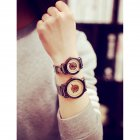 Concise Lovers Retro Casual Copper Belt Fashion Watch Small white dial