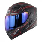 Cool Unisex Double Lens Flip-up Motorcycle Helmet Off-road Safety Helmet Line red with blue lens_L