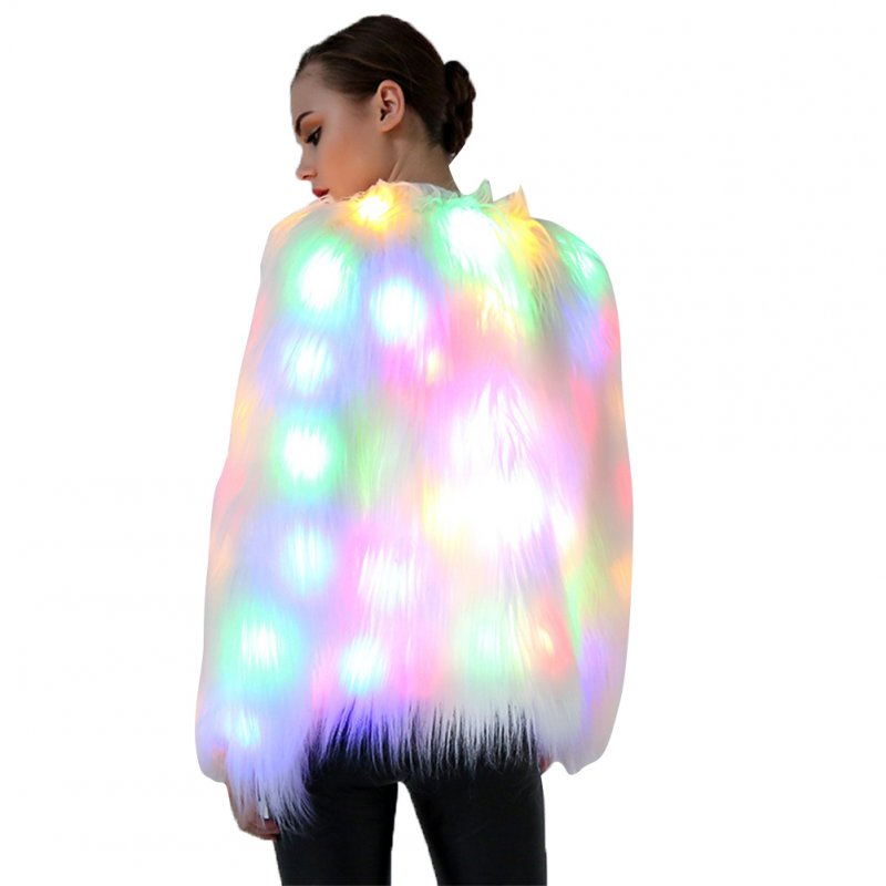 Cosplay Chrismas Festival Holloween Costume Faux Fur Coat Club Party LED Light white_XL