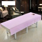 Cotton Fashion Beauty Salon Body Spa Massage Table Cloth Bed Cover Sheet with Face Hole Pure Color Pink_80 * 190cm