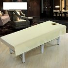 Cotton Fashion Beauty Salon Body Spa Massage Table Cloth Bed Cover Sheet with Face Hole Pure Color Beige 80   190cm