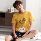 Couple Summer Cotton Thin Round Neck Short Sleeve Shirt + Shorts Pajamas Set Home Wear Couples 8 Men_XXL