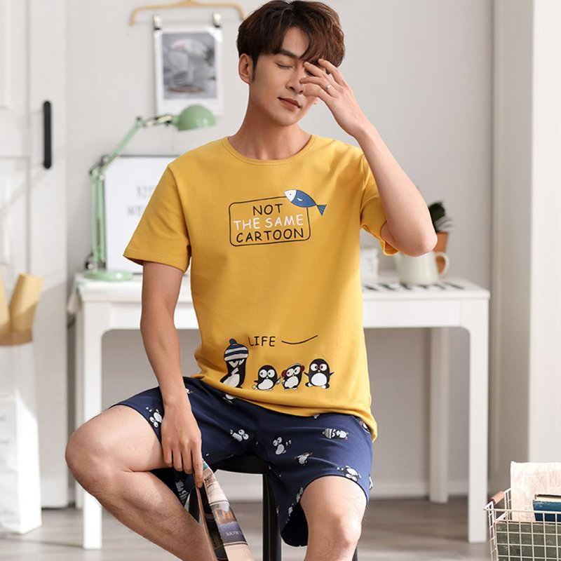 Couple Summer Thin Cotton Cute Short-sleeved Pajamas Two-piece Suit Home Wear 711-2 men_XXXL