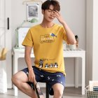 Couple Summer Thin Cotton Cute Short sleeved Pajamas Two piece Suit Home Wear 711 2 men L