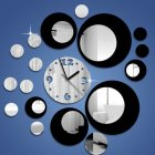 Creative Style Multi-circles Acrylic Round Wall Clock for Home Wall Decoration DIY Art Silver black