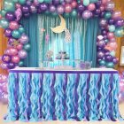 Curly Mermaid Color Tulle Table Skirt for Wedding Party Decoration 9FT