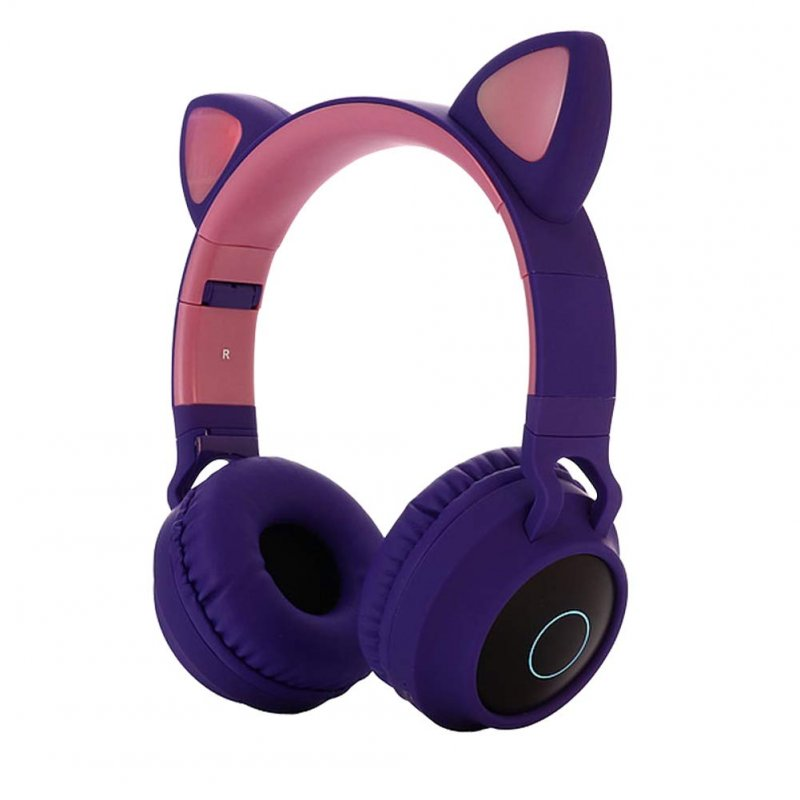 Cute Cat Ear Bluetooth 5.0 Headphones Foldable On-Ear Stereo Wireless Headset with Mic LED Light Support FM Radio/TF Card/Aux in for Smartphones PC Tablet  purple