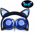 Cute Cat Ear Headset LED Light with USB Chargeable Foldable Earphones for Ipad,Tablet,Computer,Mobile Phone  blue