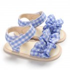 Cute Plaid Soft Rubber Sole Princess Sandals for Baby Infant Girls blue_Inside length 11 cm