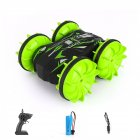 D878  1:20 2.4G RC Stunt Car Land Water Double Side Remote Control Vehicle Toy green