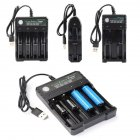 DC 5V 18650 Battery Charger 4 Slots Li-ion Universal USB Charging Portable