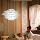 DIY Lotus Chandelier Lampshade Beautiful Decoration Romantic Lighting Cover  white_Single head 55CM
