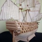 DIY Wood Assembled Victory Royal Navy Ship Sailboat Modeling Toy Decoration