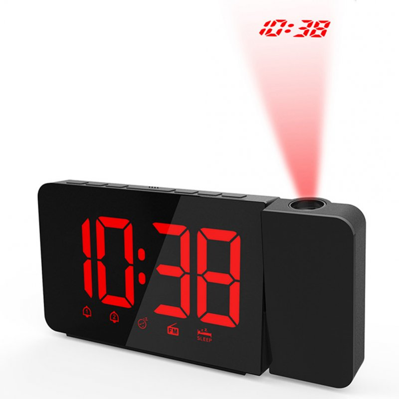 Digital LED Display Radio Alarm Clock Projection Snooze Timer red