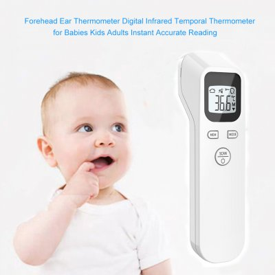 Digital Temperatur Thermometer IR Infrared Thermometer Non-contact Forehead Body Surface Temperature instruments for Adult Baby white