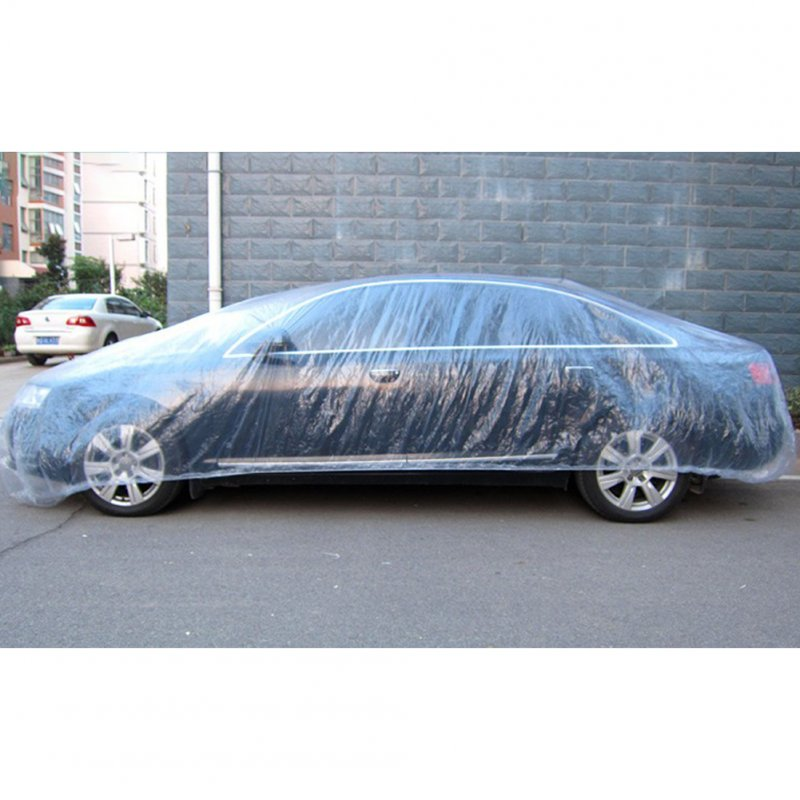 Disposable Car Cover Waterproof Transparent Plastic Dustproof Cover Car Rain Covers White transparent_L
