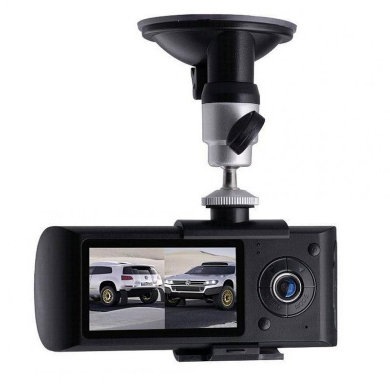 Dual Lens Dashcam R300 High Definition GPS Track R300 Dual Recording Car Recorder black