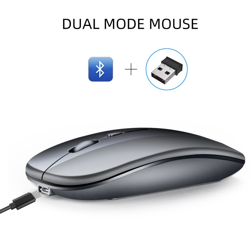 Dual Mode Bluetooth 4.0 + 2.4G Wireless Mute Computer Mouse for PC Laptop gray