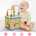 Early Childhood Education Wooden Clock Multi-functional Round Bead Toys Four-sided Intelligence Game Treasure Box