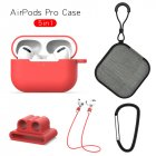 Earphone Protective Case for AirPods Pro Soft Silicone Cover+Carabiner+Anti-lost Strap+Wrist Holder+Storage Bag Red