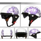 Retro Helemt Half Face Motorcylce Hat FRP Prince Helmet Bright white purple rose L
