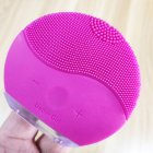 Electric Silicone Face Cleansing Brush Sonic Vibration Massage USB Rechargeable Smart Ultrasonic Face Cleaner Rose Red