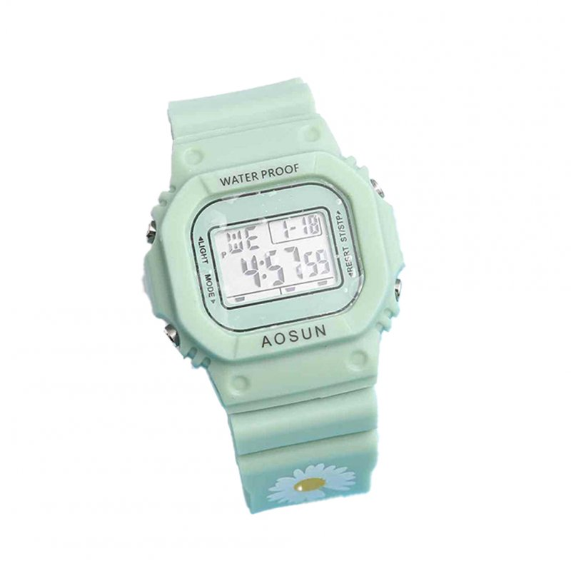 Electronic Watch Small Daisy Luminous Silicone Led Watch Watch green