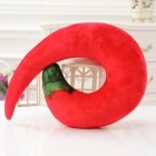Emulational U Shape Sleep Pillow Cute Shape Neck Pillow for Travel Home Decoration Red chilli