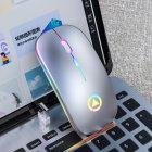 Ergonomic Wireless Mouse Rechargeable Silent LED Backlit Portable Cute Mini Mouse Works for PC Computer Gray