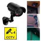 Fake Dummy Surveillance Security CCTV Camera with LED Light Outdoor Waterproof  black