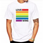 Fashion Lesbia Rainbow Pattern Summer Cool Lovers Casual Loose T-shirt White 22_L