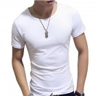 Fashion Men Simple Solid Color Slim Short Sleeve T-shirt