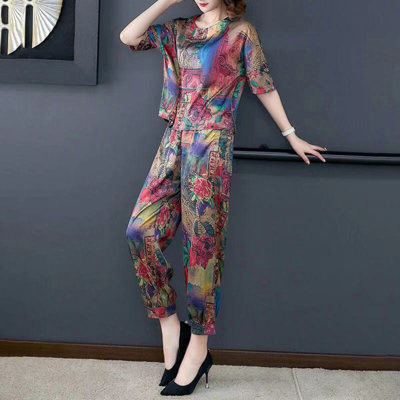 Fashion Middle-aged Printing Large Size Two-piece Set Female Clothing Sets red_XXXXL