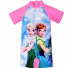 Cartoon Short-sleeved Swimsuit - Pink ice M