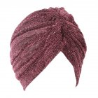 Fashion Unisex Turban Headwear Shiny Creative Comfortable Warm Cap Christmas Gift Rose red