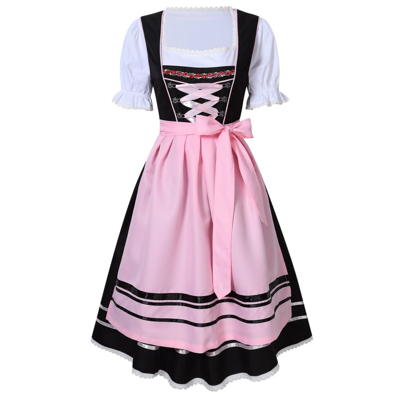 Female Bavarian Traditional Dirndl Dress Fastening Ties for Beer Festival  Pink/black_M