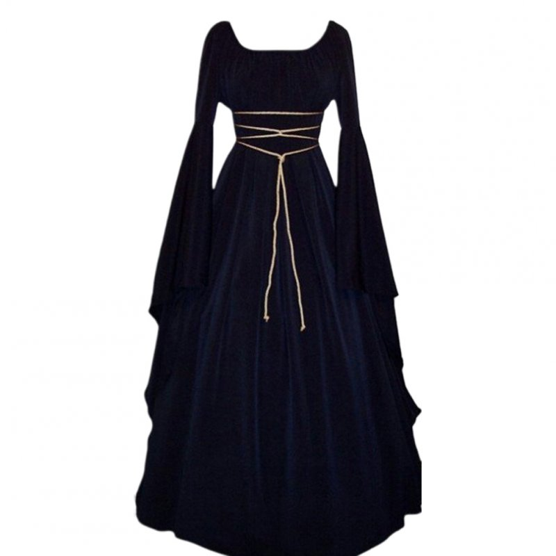 Female Royal Style Long Dress Long Sleeve Round Collar Irregular Cosplay Dress for Halloween Party navy blue_L