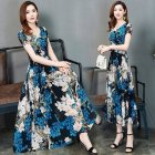 Female Summer Waisted Floral Pattern Short-sleeve Printing Dress  Blue flower_L