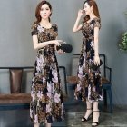 Female Summer Waisted Floral Pattern Short-sleeve Printing Dress  Gray pattern_2XL