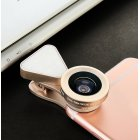 3 in 1 LED Selfie Flash Light Beauty Phone Lens Fill Light 0.4-0.6X Wide Angle 10X Macro Lens Gold
