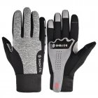 Fleece Gloves Autumn Winter Warm Gloves Touch screen Waterproof Elastic Non-slip Gloves for cycling  gray_M