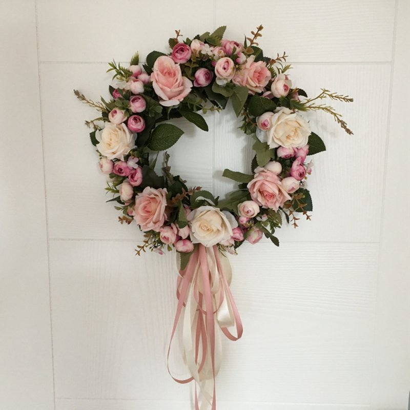 Floral Artificial Rose Wreath Door Hanging Wall Window Decoration Wreath Holiday Festival Wedding Decor (40cm)