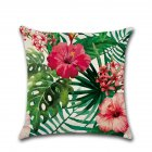 Flower Plant Pattern Printing Throw Pillow Cover without Filling for Decoration