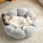 Flower Shape Cat Bed Short Plush Soft Cat House Winter Pet Dog Cushion Mats Nest gray_ 40cm