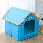 Foldable House Shape Pet Nest with Mat for Small Dog Teddy Poodle Puppy Cats blue_M