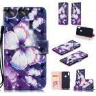 For ASUS ZENFONE MAX Pro M1 ZB601KL ZB602KL 3D Coloured Painted PU Magnetic Clasp Phone Case with Card Slots Bracket Lanyard Big purple butterfly