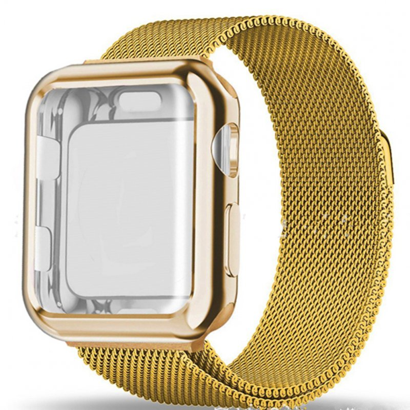 For Apple watch4/3/2/1 Milanese Full Cover Electroplating Shell Iwatch Band Watchband Set Lluxury gold 42mm